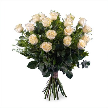 18 Long-stemmed White Roses