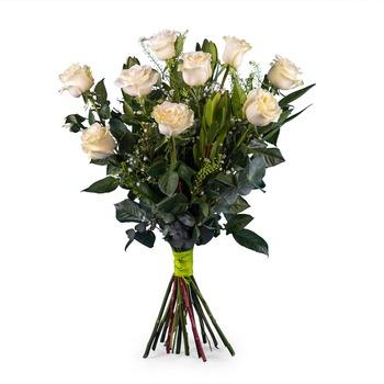 9 Long-stemmed White Roses