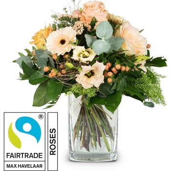 Delicate Seasonal Bouquet with Fairtrade Max Havelaar-Roses (Vase not included)