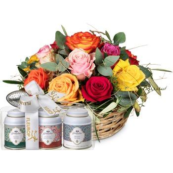 A Basket Full of Roses with Gottlieber tea gift set