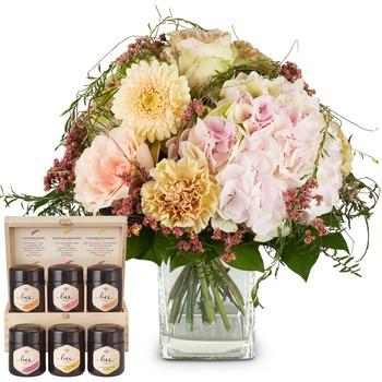 Romantic Hydrangea Bouquet with honey gift set
