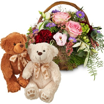 Summer Awakening with two teddy bears (white & brown)