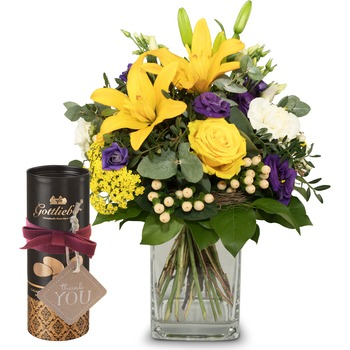 """Summer Sunshine with Gottlieber cocoa almonds and hanging gift tag """"Thank You"""" (Vase not included)"""