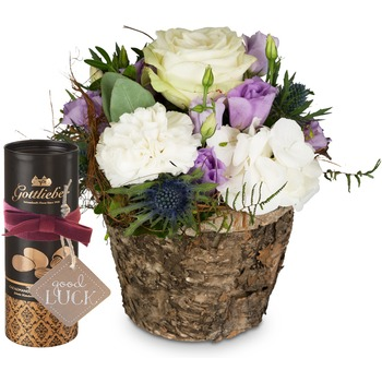 """Just Because with Gottlieber cocoa almonds and hanging gift tag """"Good Luck"""""""
