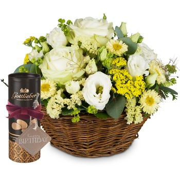 """Sunny Days with Gottlieber cocoa almonds and hanging gift tag """"Happy Birthday"""""""