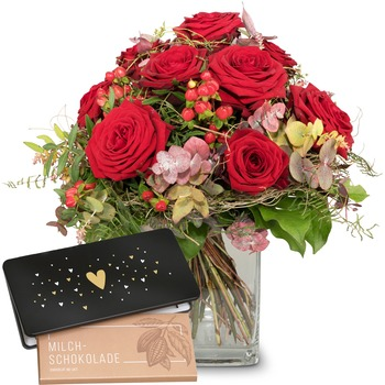 """I Love You with bar of chocolate """"Heart"""" (Vase not included)"""