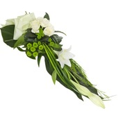Modern Funeral Sheaf of White Lilies
